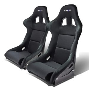NRG FRP-310 Pair of Fiber Glass Bucket Style Racing Seat w/Adjustable Mounting Bracket, Black