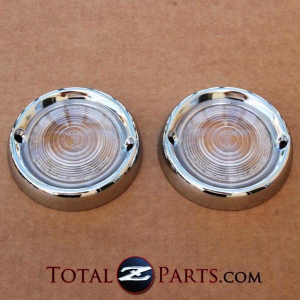 Datsun Roadster Parking Lamp Lenses Clear, Pair, 1963-69 *NOS*