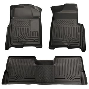 HUSKY LINERS Front & 2nd Row Seat Floor Liners, BLACK, for 09-14 Ford F-150 SuperCrew Cab