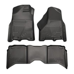 HUSKY LINERS Front & 2nd Row Floor Liners, BLACK, for 09-17 Dodge RAM Crew Cab