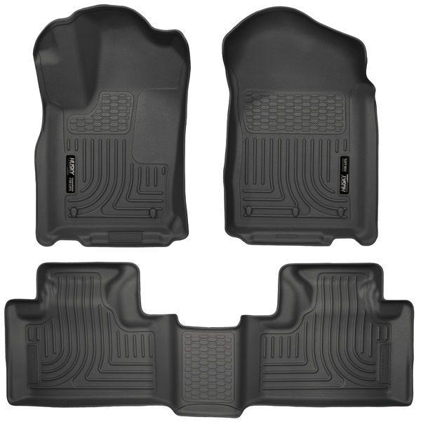 HUSKY LINERS Front & 2nd Row Seat Floor Liners, BLACK, for 11-15 Dodge Durango, Jeep Grand Cherokee