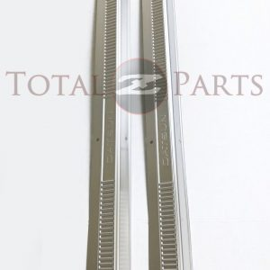 """Datsun 240Z 260Z 280Z S30 Outer Door Metal Kick Sill Plates Pair, """"Datsun"""" Stamp"""
