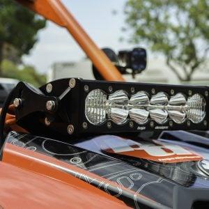 Can-Am Maverick X4 LED Light OnX6 Front Shock Mount Kit. Waterproof, durable billet aluminum housing. Includes mounting bracket.