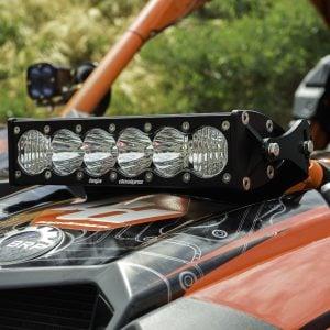 Can-Am Maverick X4 LED Light OnX6 Front Shock Mount Kit. Waterproof, durable billet aluminum housing. Includes mounting bracket. 10-inch.