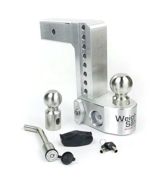 "Weigh Safe 8"" Drop Hitch, 2.5"" Shank, w/Key Lock & Hitch Pin"