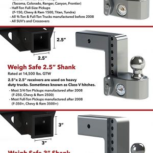 "Weigh Safe 6"" Drop Hitch, 2"" Shank, w/Key Lock & Hitch Pin"