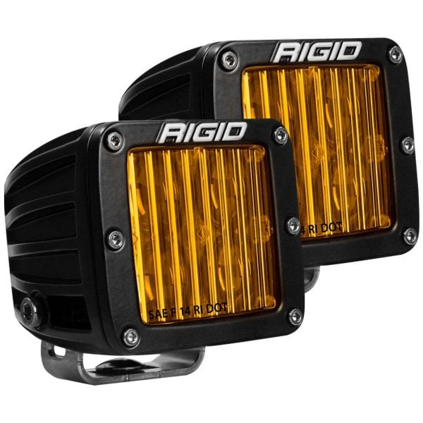 RIGID® D-Series DOT/SAE J583 Selective Yellow Surface Mount LED Lights Pair