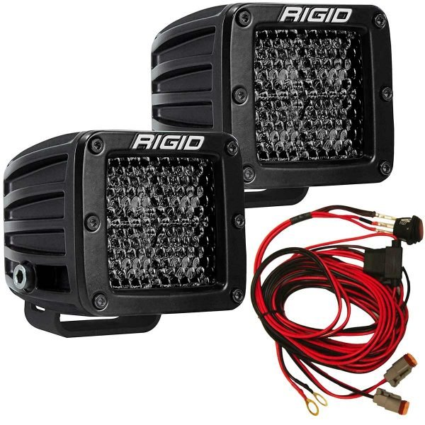 Rigid® D-Series Pro Spot Diffused Midnight LED Light Pods Pair w/Harness