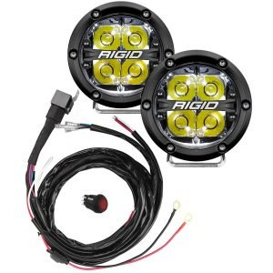 "Rigid® 360-Series 4"" Spot LED Fog Lights (White Backlight) with Harness"