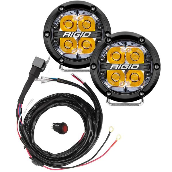 "Rigid® 360-Series 4"" Spot LED Fog Lights (Amber Backlight) with Harness"