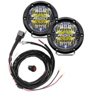 "Rigid® 360-Series 4"" Driving LED Fog Lights (White Backlight) with Harness"