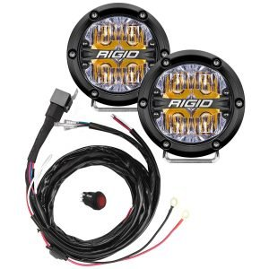 "Rigid® 360-Series 4"" Driving LED Fog Lights (Amber Backlight) with Harness"