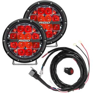 """Rigid® 360-Series 6"""" Spot LED Fog Lights (Red Backlight) with Harness"""