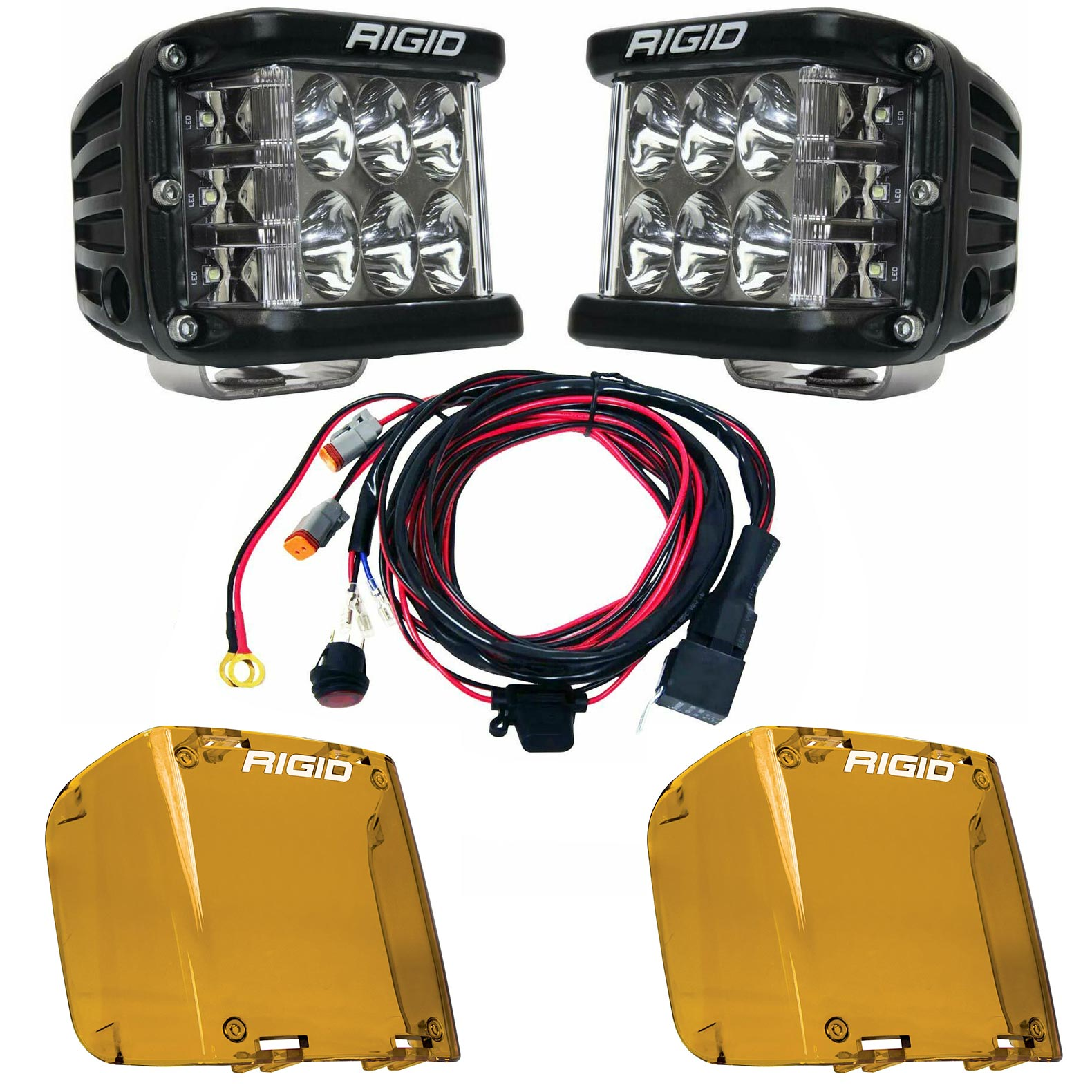 Rigid Industries® D-SS Pro Driving LED Light Pods Pair w/Harness & Amber Covers