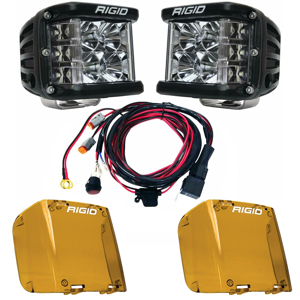 Rigid Industries® D-SS Pro Flood LED Light Pods Pair w/Harness & Amber Covers