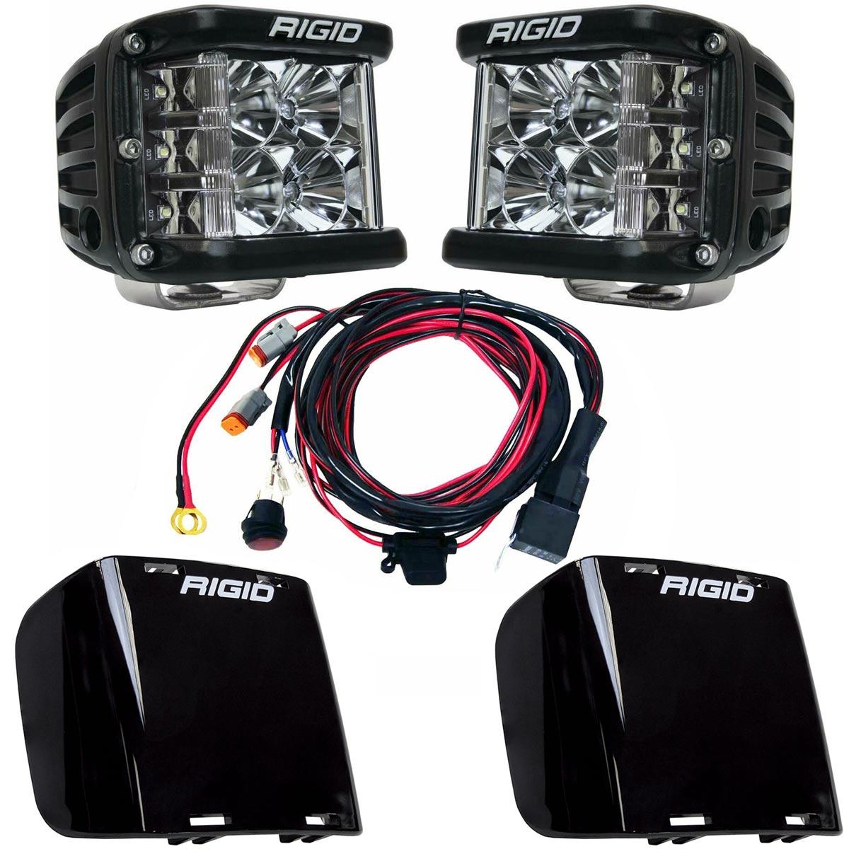 Rigid Industries® D-SS Pro Flood LED Light Pods Pair w/Harness & Black Covers