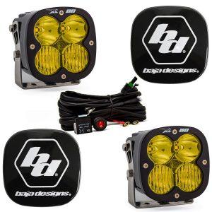 Baja Designs® XL80™ LED Lights Pair Amber Driving/Combo & Rock Guards Kit