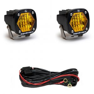 Baja Designs® S1 LED Lights Pair Amber Wide Cornering with Wire Harness